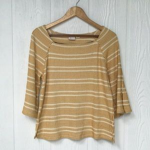 Anthropologie 9-H15 stcl Top in cream/mustard, S
